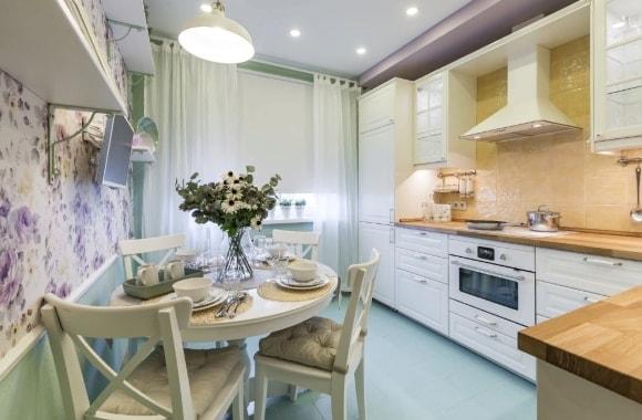 Кухня в стиле прованс размером 9 кв.м.
