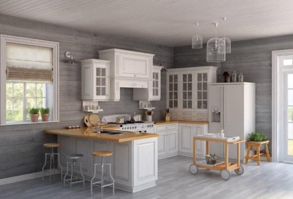 Кухня в стиле прованс с бежевым гарнитуром