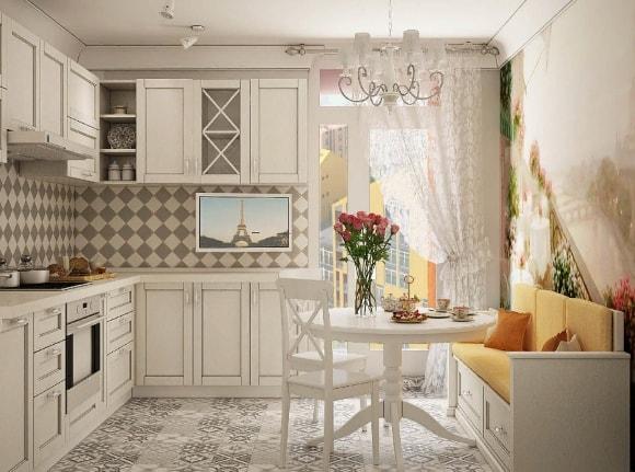 Кухня в стиле прованс с диваном