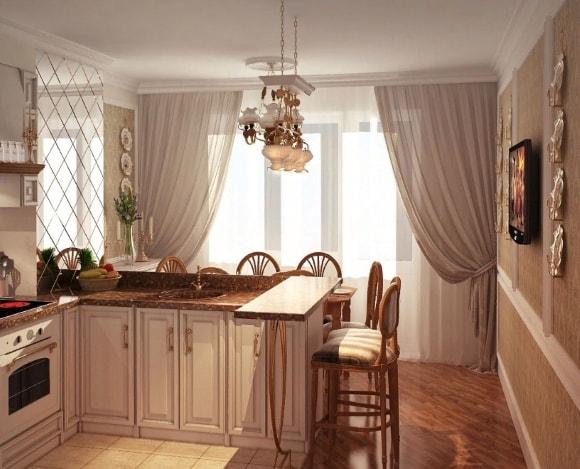 Кухня в стиле прованс с длинной тюлью
