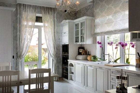 Кухня в стиле прованс с фасадами из МДФ