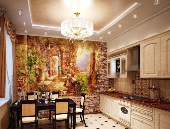 Кухня в стиле прованс с красивой росписью стен