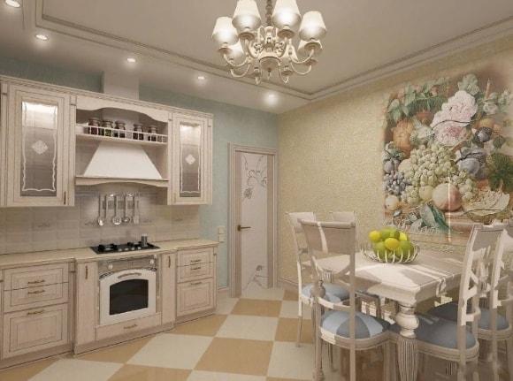 Кухня в стиле прованс с красивым фресками