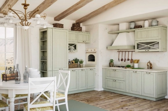 Кухня в стиле прованс с красивыми фасадами