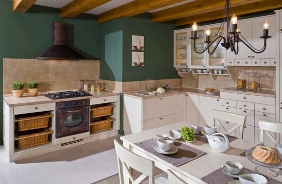 Кухня в стиле прованс с красивыми картинами