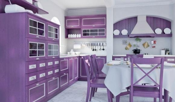 Кухня в стиле прованс с лавандовым гарнитуром