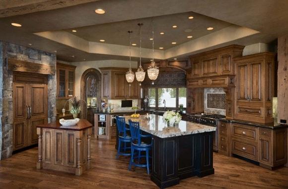 Кухня в стиле прованс с подвесным потолком