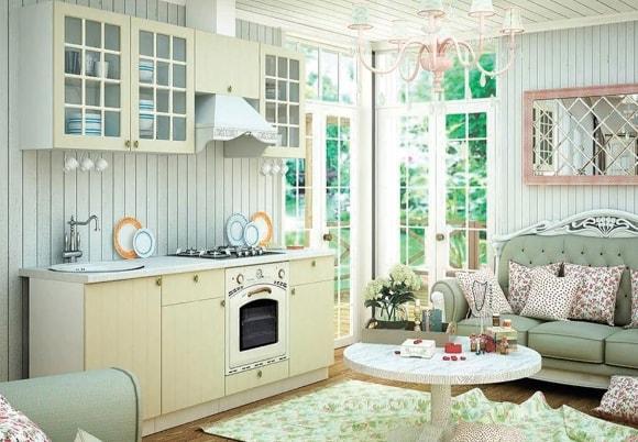 Кухня в стиле прованс с ванильным гарнитуром