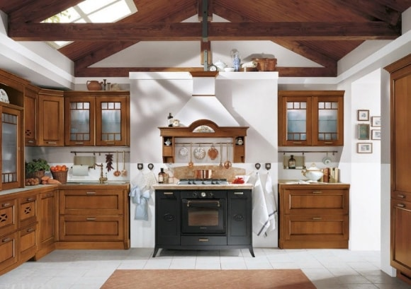 Кухня в стиле прованс с вытяжкой