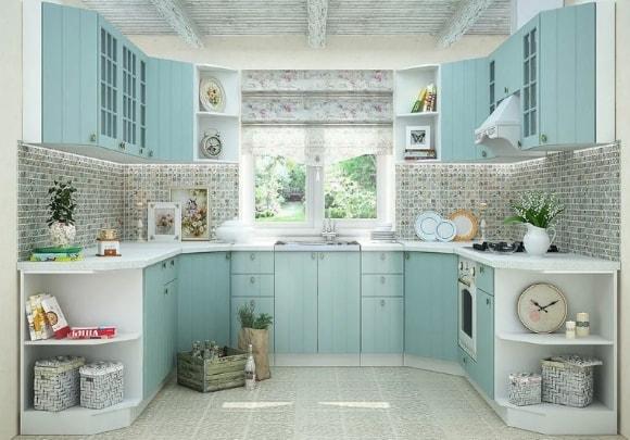 Кухня в стиле прованс угловой системы