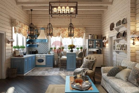 Кухня в стиле прованс в доме из сруба
