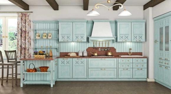 Кухня в стиле прованс в загородном доме