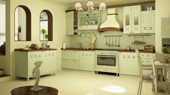 Кухня в стиле прованс ванильного цвета