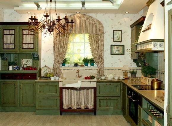 Кухня в стиле прованс зеленого цвета