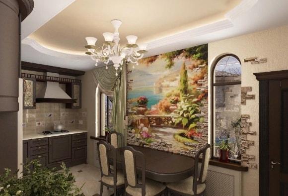 Кухонная роспись стен в стиле прованс
