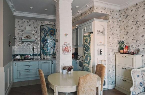 Кухонные обои в стиле прованс