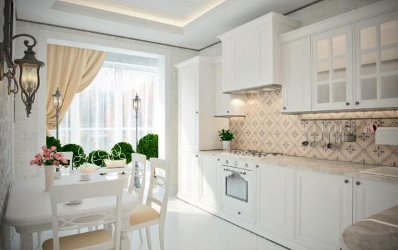 Кухонный гарнитур в стиле прованс белого цвета