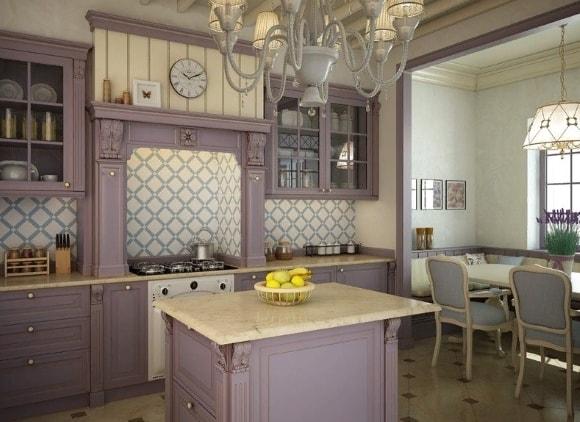 Кухонный гарнитур в стиле прованс лавандового цвета