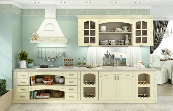 Кухонный гарнитур в стиле прованс ванильного цвета