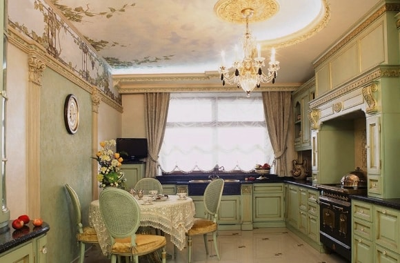 Кухонный потолок в стиле прованс