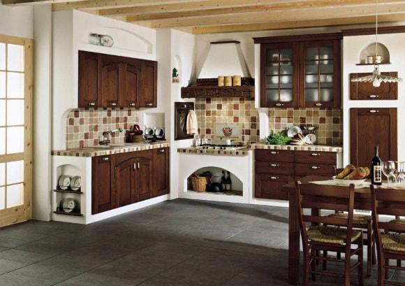 Мебель из массива дерева в стиле прованс на кухне