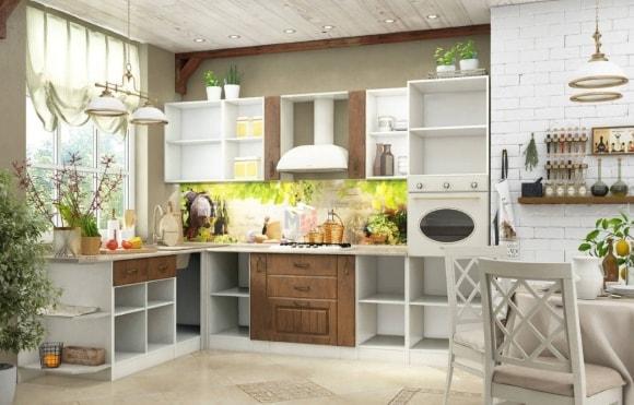 Модульная мебель в стиле прованс на кухне
