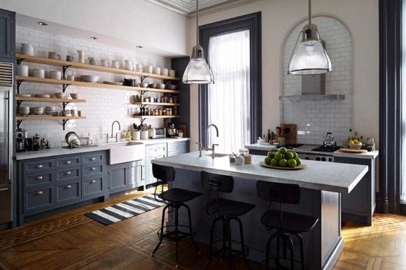 Одноярусная кухня в стиле прованс