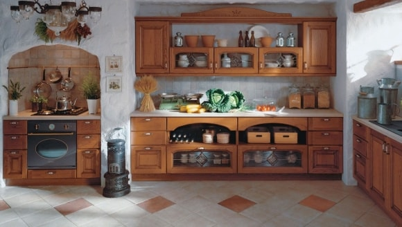 Полки в стиле прованс на кухне