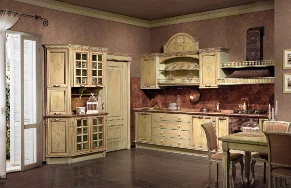 Состаренная кухня в стиле прованс