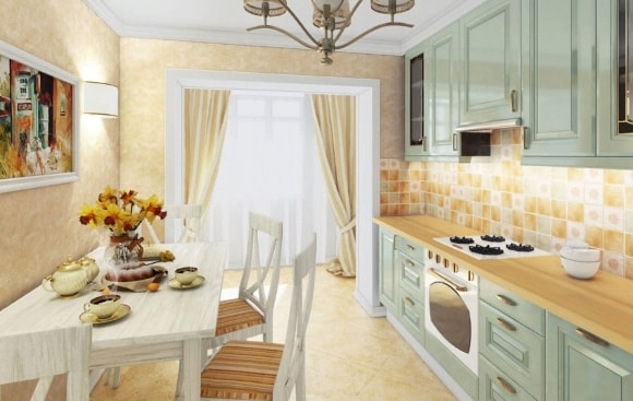 Тюль на кухне в стиле прованс