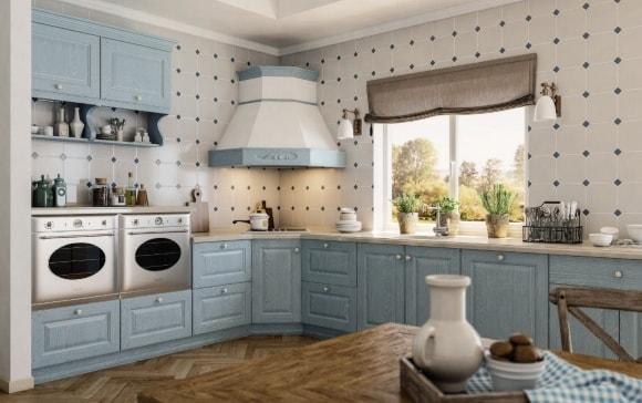 Угловая мебель в стиле прованс на кухне