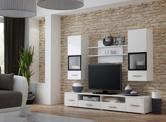 Современная белая матовая стенка в гостиной комнате