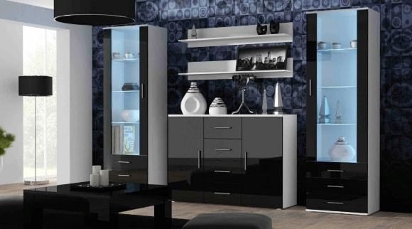 Современная черная глянцевая стенка в гостиной комнате