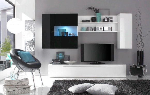Современная черно-белая стенка в гостиной комнате