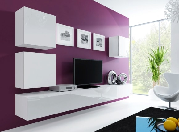 Современная подвесная стенка в гостиной комнате