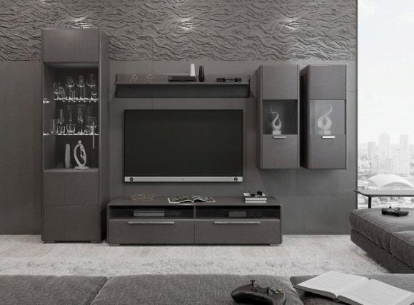 Современная серая стенка в гостиной комнате