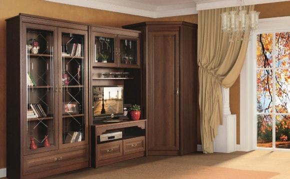 Современная стенка в гостиной комнате цвета орех