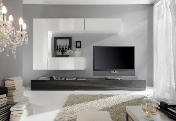 Современная стенка в гостиной комнате под телевизор