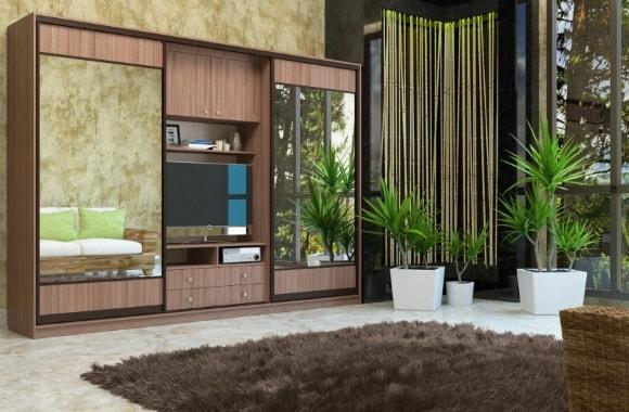 Современная стенка в гостиной комнате с большим шкафом