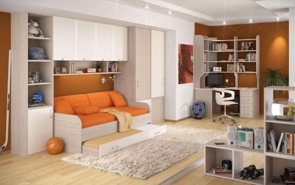 Современная стенка в гостиной комнате с нишей для дивана