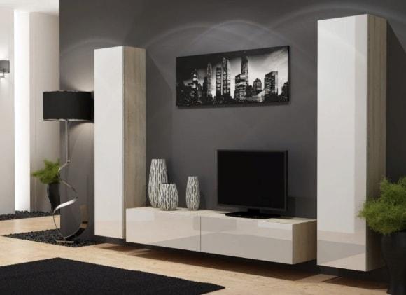 Современная стенка в гостиной комнате с подвесным шкафом