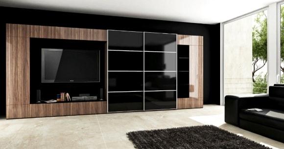 Современная стенка в гостиной комнате с шкафом-купе