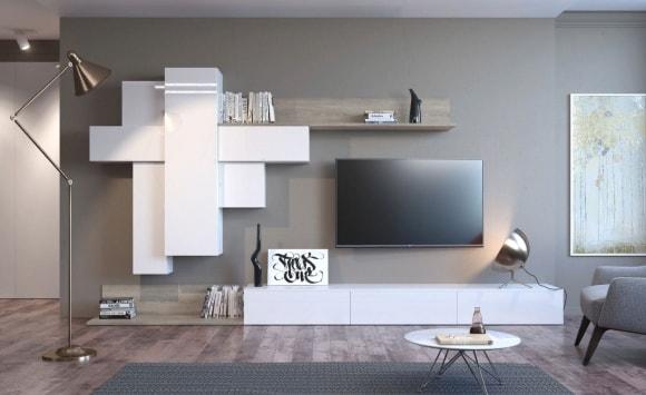 Современная стенка в гостиной комнате в стиле лофт