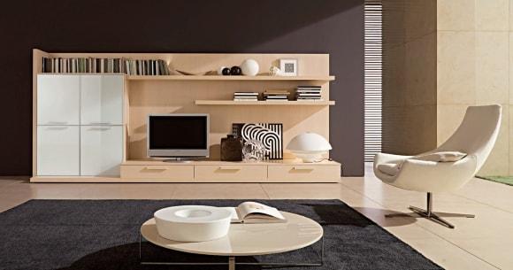 Стенка в интерьере гостиной в стиле минимализм