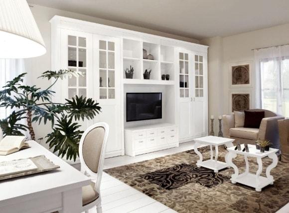 Стенка в интерьере гостиной в стиле прованс