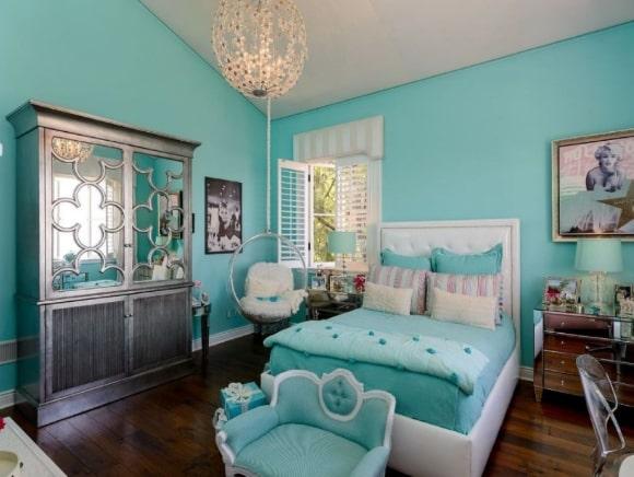 Дизайн прованской спальни бирюзового оттенка
