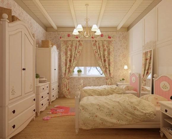 Дизайн прованской спальни для двух девочек