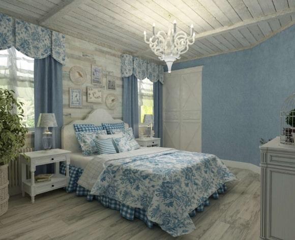 Дизайн прованской спальни голубого оттенка