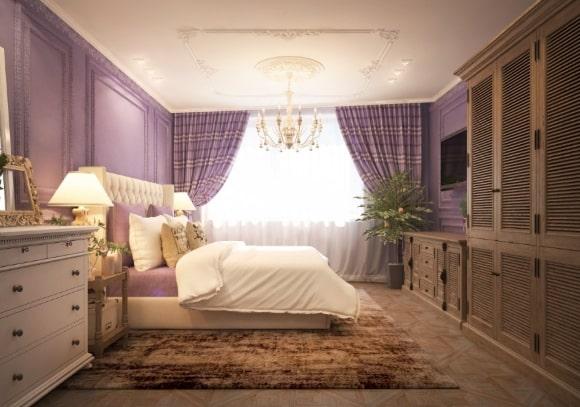 Дизайн прованской спальни лавандового оттенка