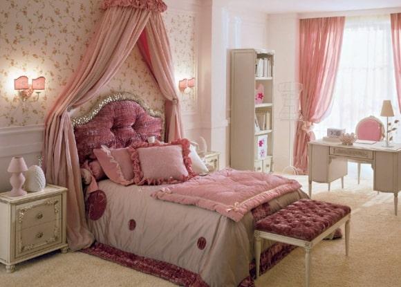 Дизайн прованской спальни розового оттенка